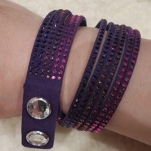 Swarovski Crystal Wrap Around Faux Suede Bracelet